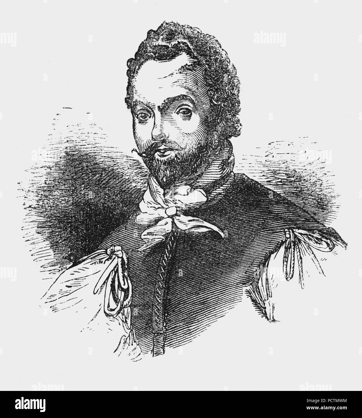 A portrait of Sir Francis Drake (1540-1596), English sea captain, privateer, slave trader, naval officer and explorer of the Elizabethan era. Drake carried out the second circumnavigation of the world in a single expedition, from 1577 to 1580, and was the first to complete the voyage as captain while leading the expedition throughout the entire circumnavigation. Queen Elizabeth I awarded Drake a knighthood in 1581 which he received on the Golden Hind in Deptford. As a Vice Admiral, he was second-in-command of the English fleet in the battle against the Spanish Armada in 1588. - Stock Image