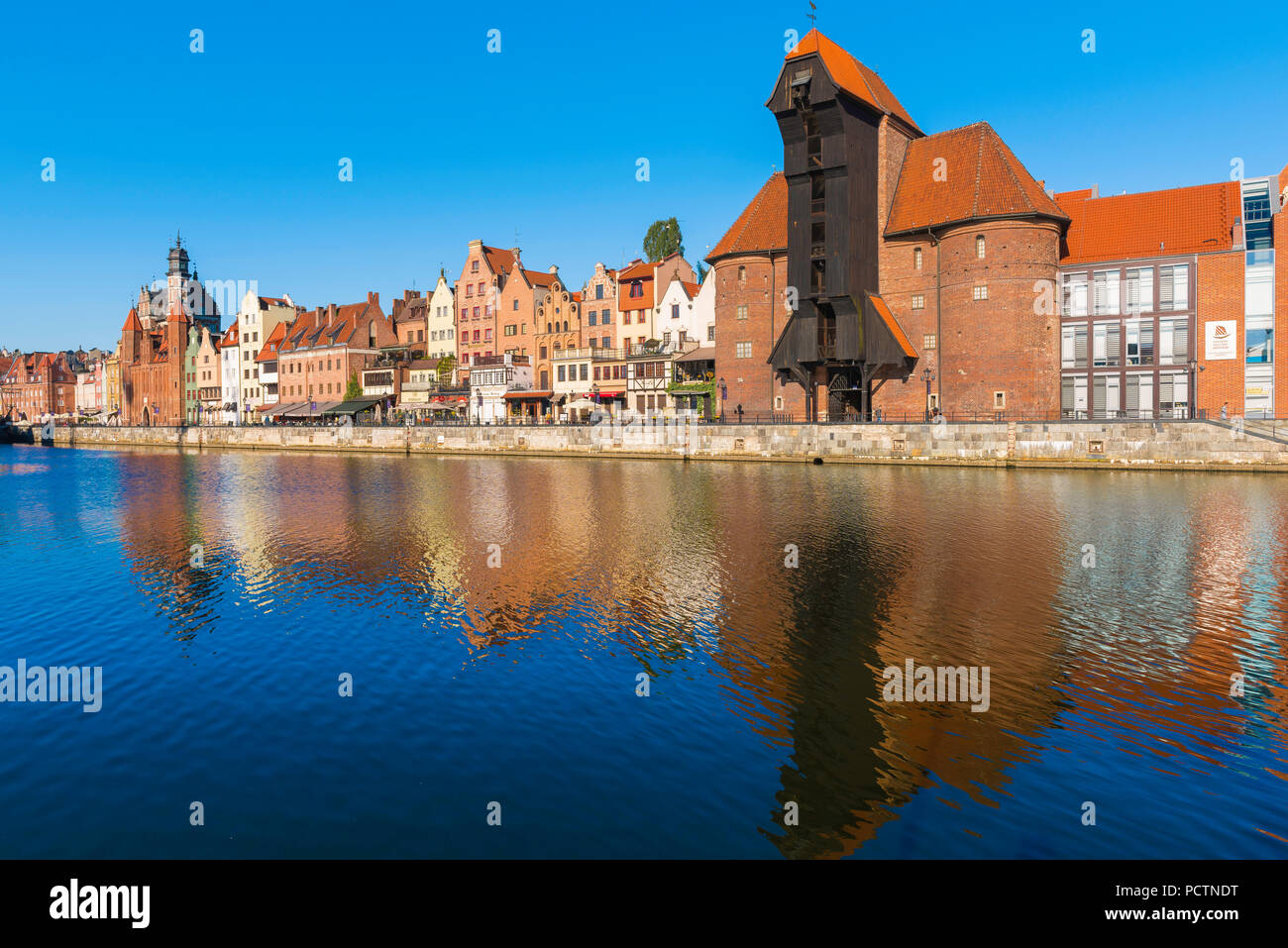 Gdansk crane Zuraw, view of the Zuraw - the largest medieval crane in Europe sited alongside the Motlawa River in the Old Town area of Gdansk, Poland. Stock Photo