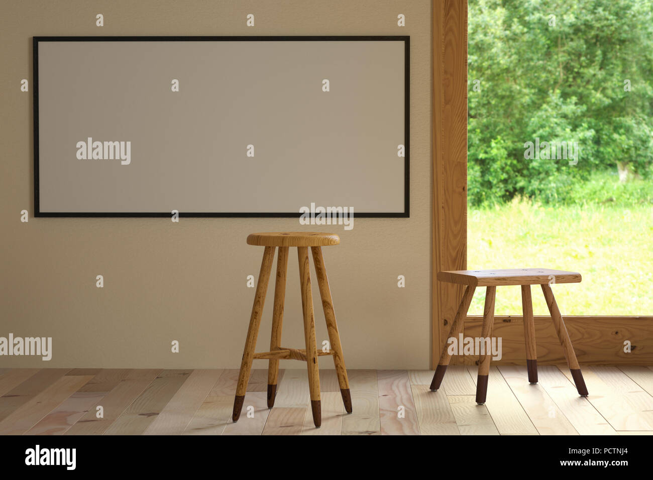 3d illustration interior. Mockup a poster 56 x 120 cm inside building. Room with wooden floor and window overlooking the nature. Backless bar stool ma - Stock Image