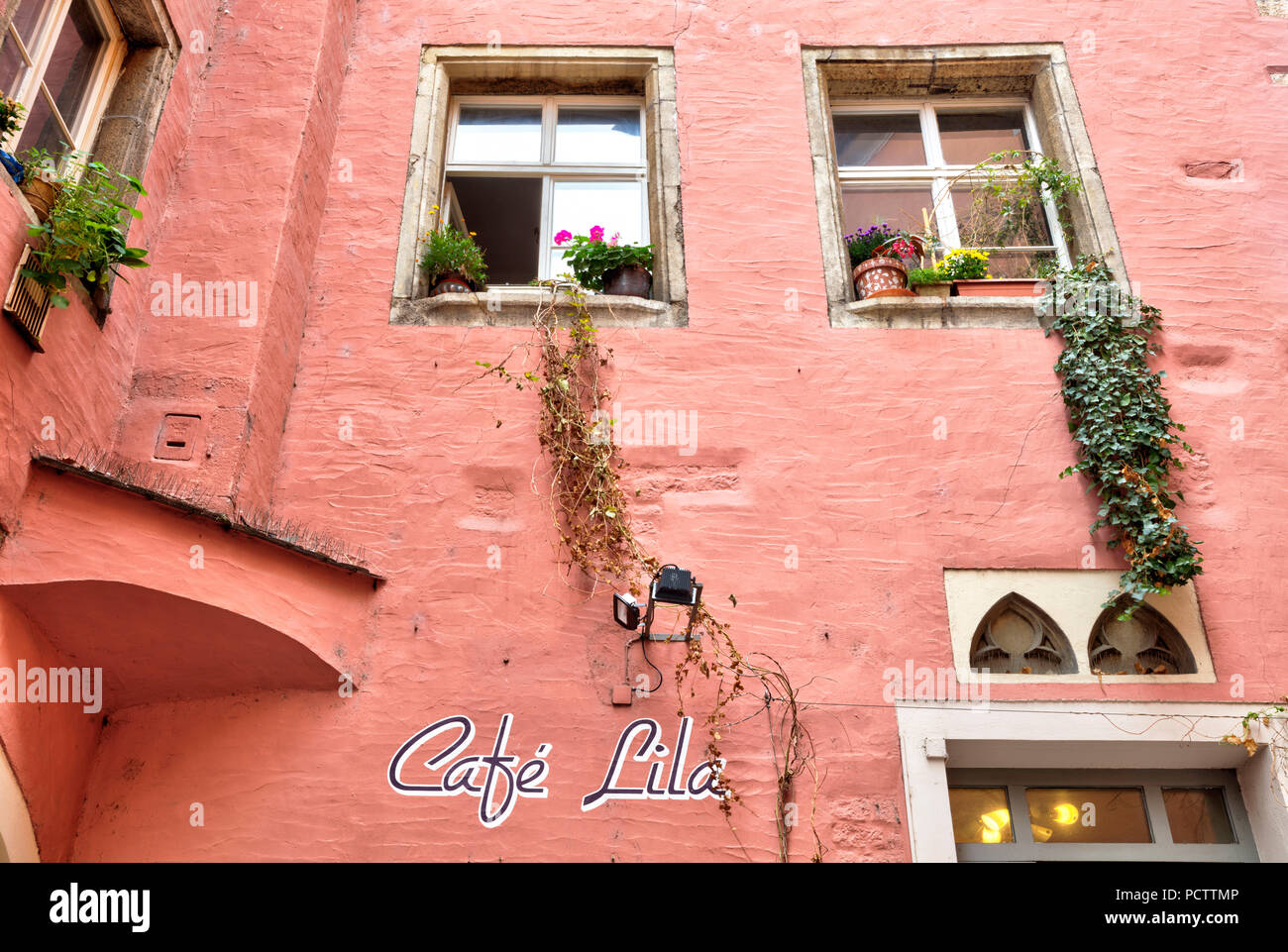 Cafe Lila, House Facade, Alley, old town, Autumn, Historic, Regensburg, Upper Palatinate, Bavaria, Germany, Europe - Stock Image