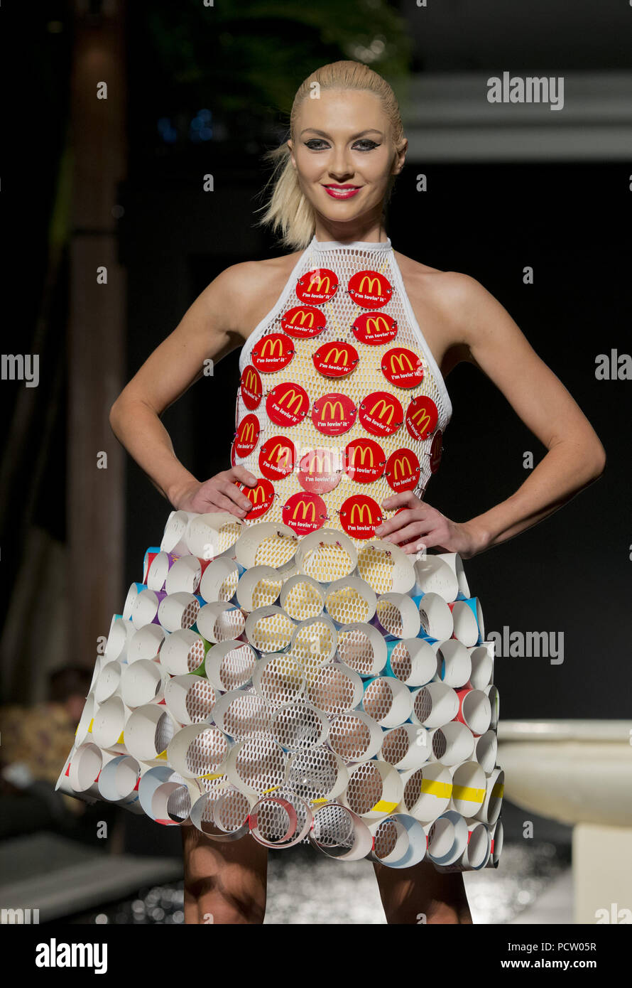 Miami Beach Fl November 05 Mcdonalds Left The Audience Hungry For More Mcdcouture At Funkshion Fashion Week Miami Beach One Of 20 One Of A Kind Designs Created From Mcdonalds Packaging And Paper Goods