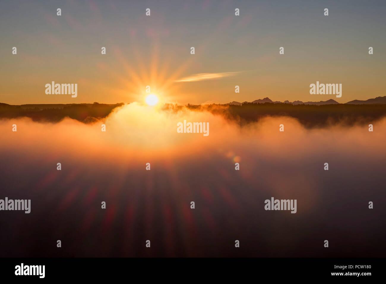 Sunrise, White Wall at Icking, Pupplinger Au, Upper Bavaria, Bavaria, Germany - Stock Image