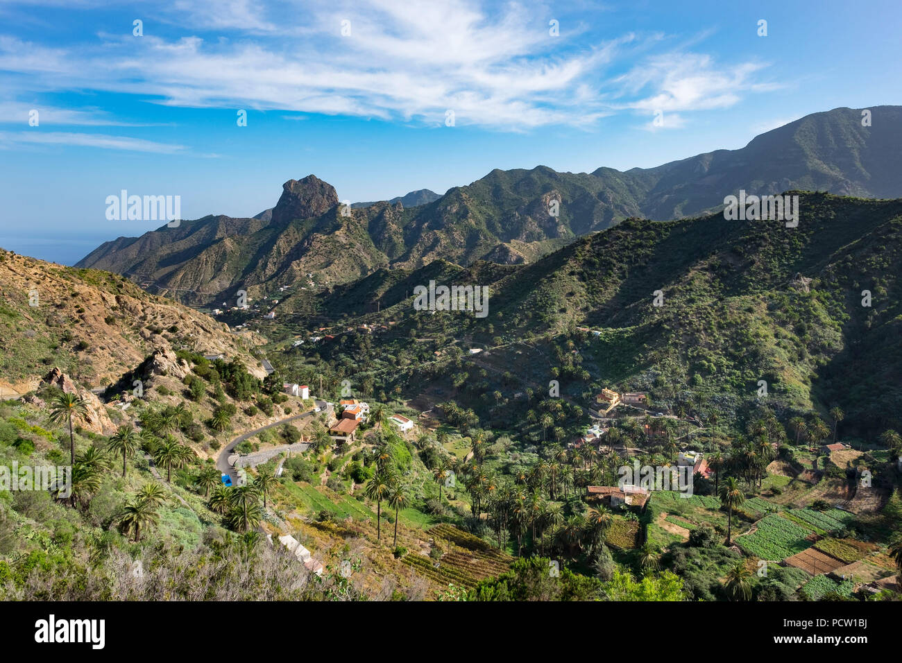 Vallehermoso with Roque Cano, La Gomera, Canary Islands, Canaries, Spain - Stock Image