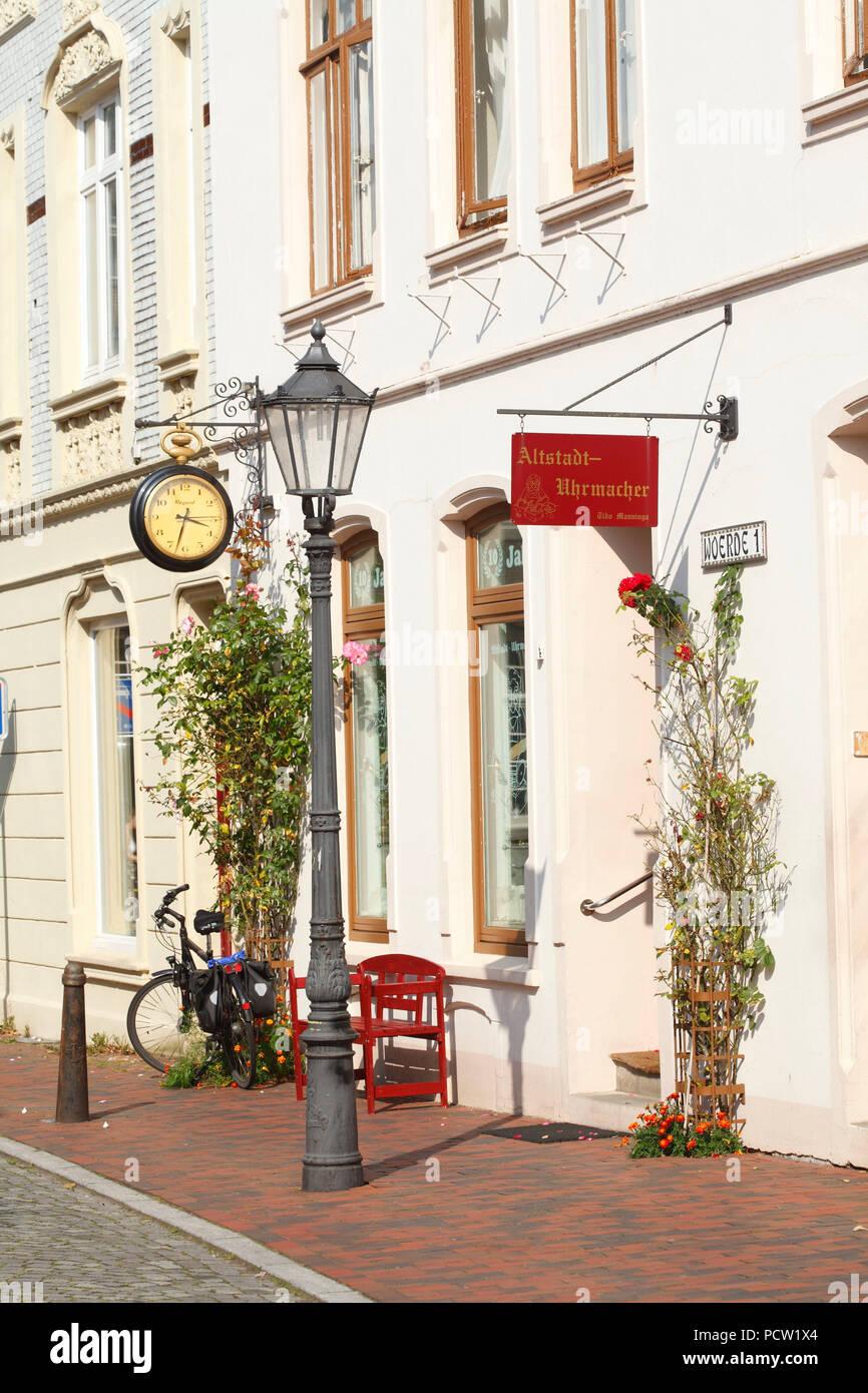 Old town clockmaker, street Wörde, Leer, East Frisia, Lower Saxony, Germany, Europe - Stock Image