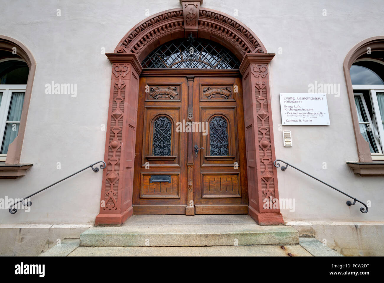 Evangelical Parish hall, house facade, city architecture, Memmingen, summer, Bavaria, Germany - Stock Image