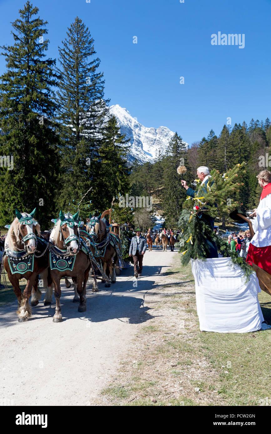 Georgi ride, rider, mass, blessing, pastor, holy water, Mittenwald, Bavaria, Upper Bavaria, Germany, - Stock Image