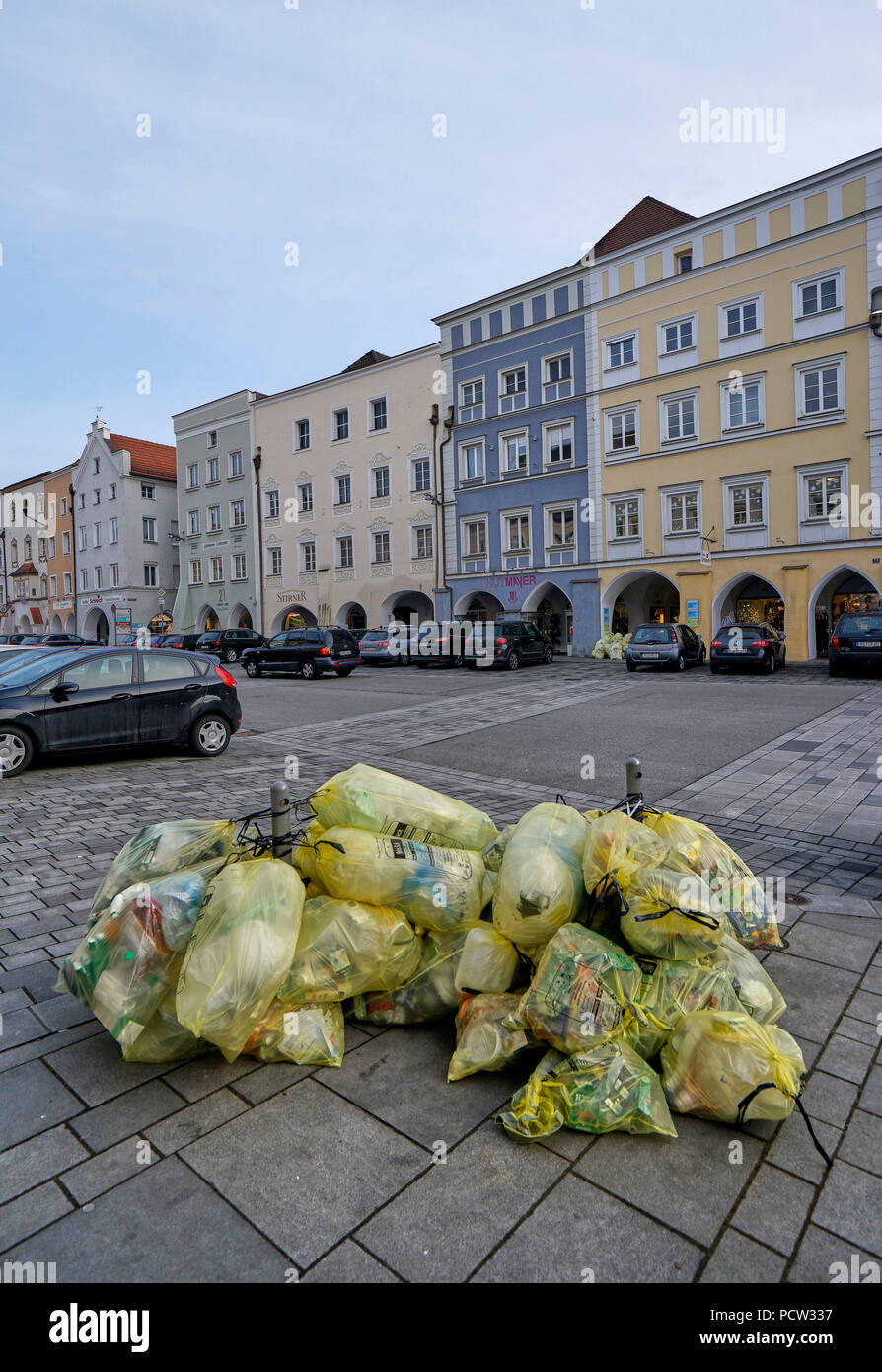 Germany, Bavaria, Upper Bavaria, Neuötting, city square, yellow sacks, waste separation Stock Photo