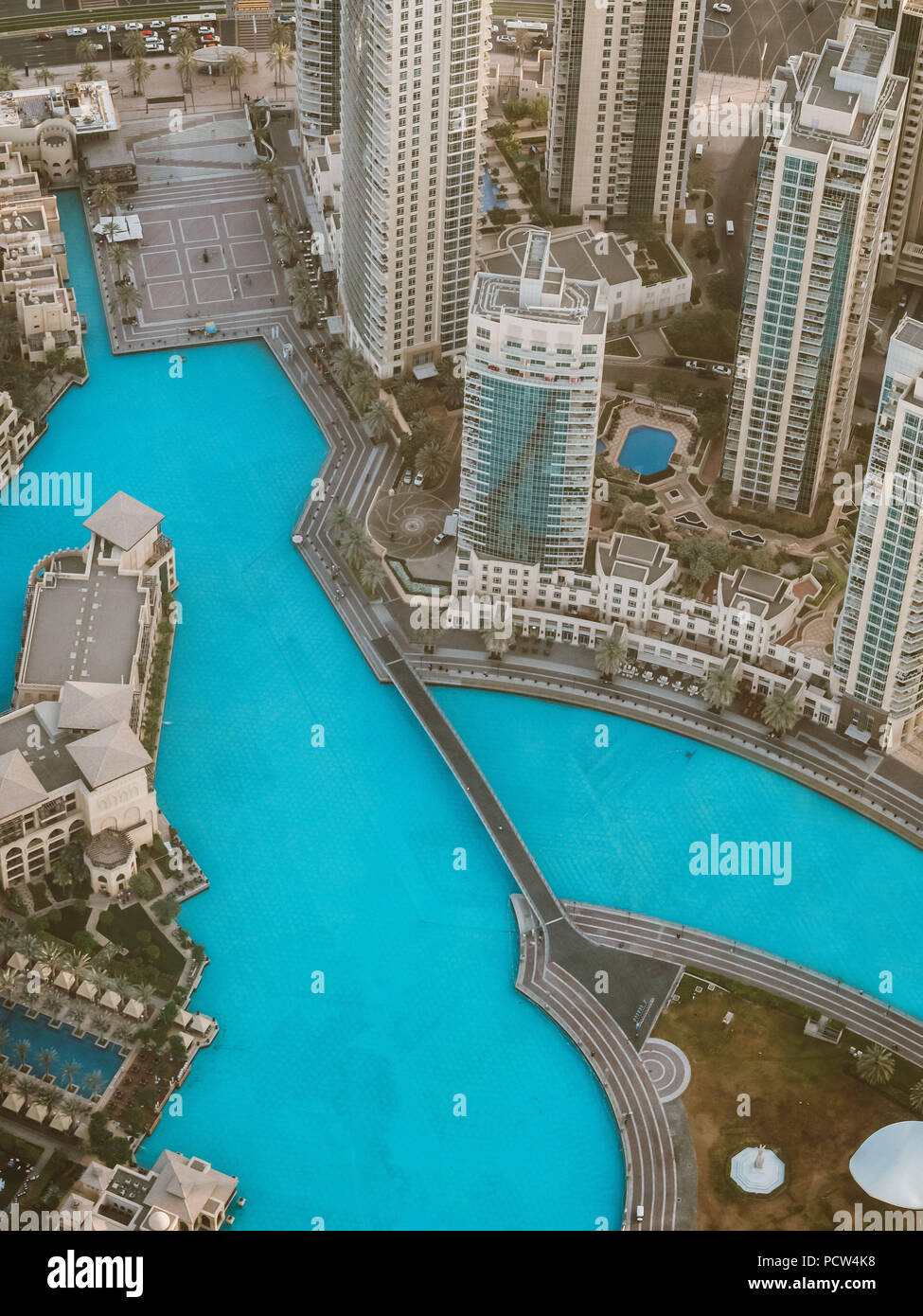 Artificial lake in Dubai from the top, United Arab Emirates. - Stock Image