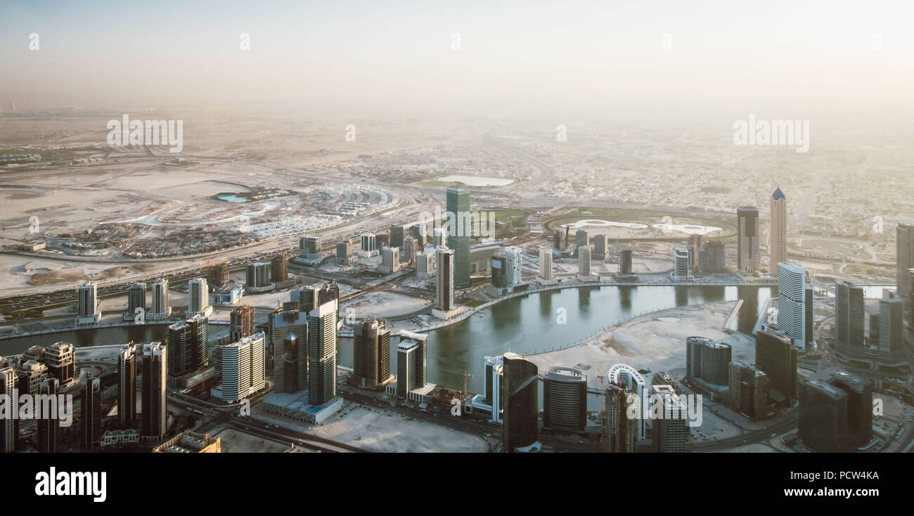 Beautiful view from the top of dubai skyline - Panorama - Stock Image