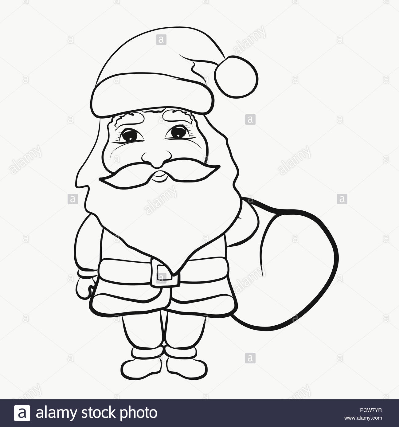 santa claus with a bag of gifts coloring pages