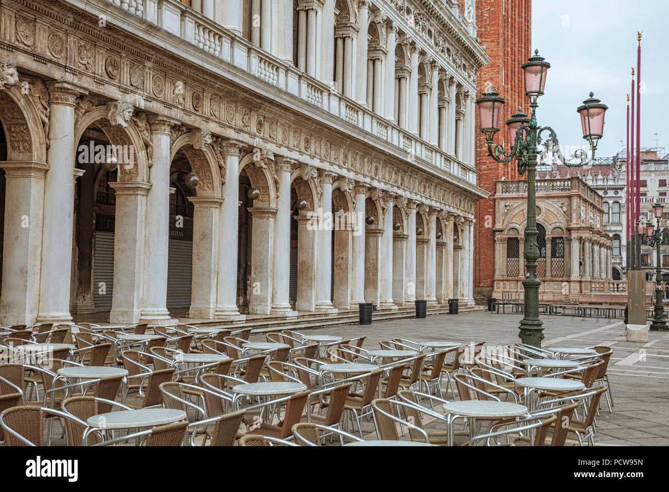 A café on St. Mark's square in Venice, italy - Stock Image
