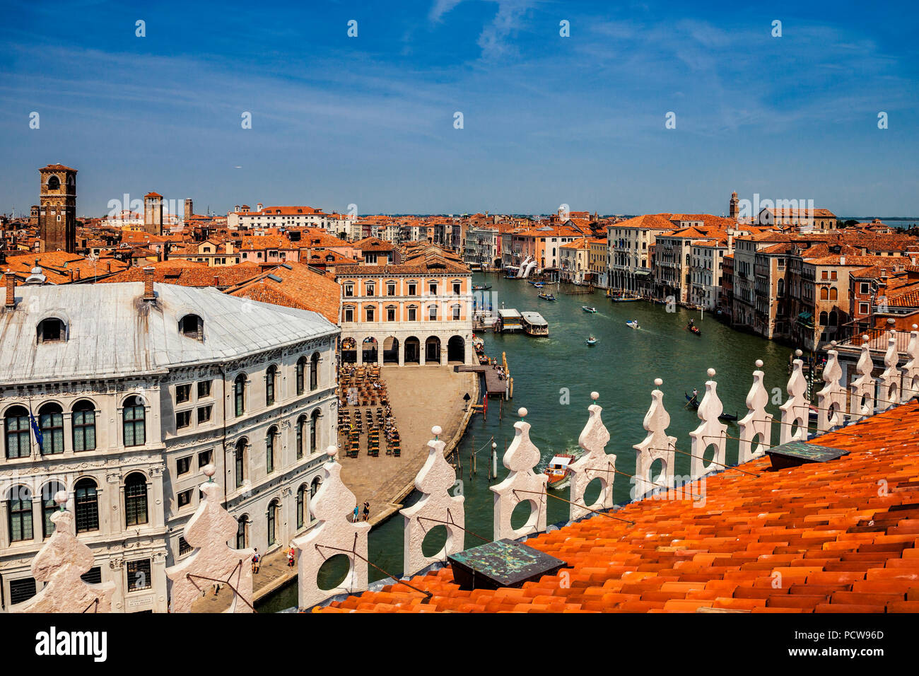 View of Venice and the Grand Canal from the rooftop - Stock Image
