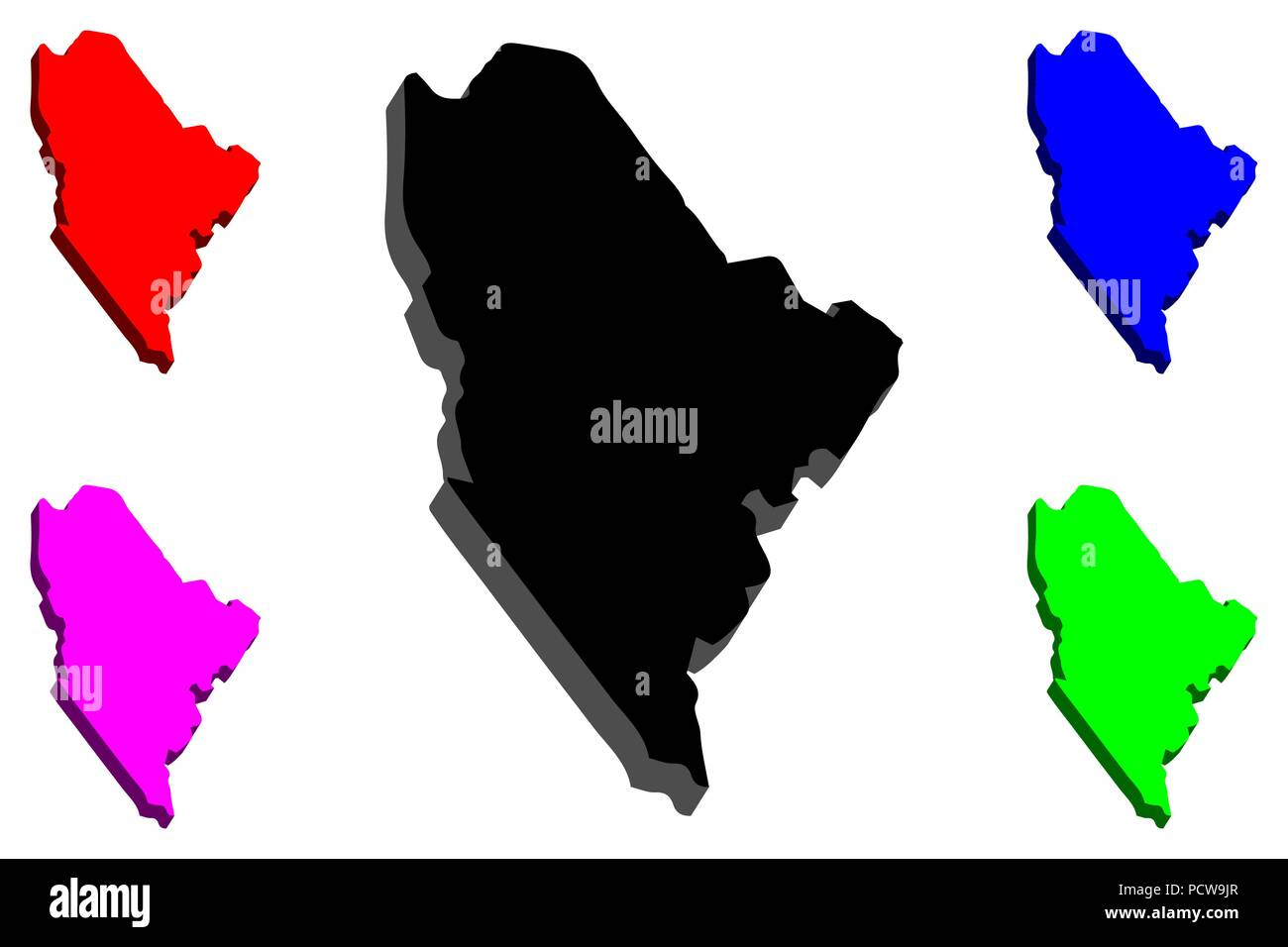 3d Map Of Maine United States Of America Black Red Purple