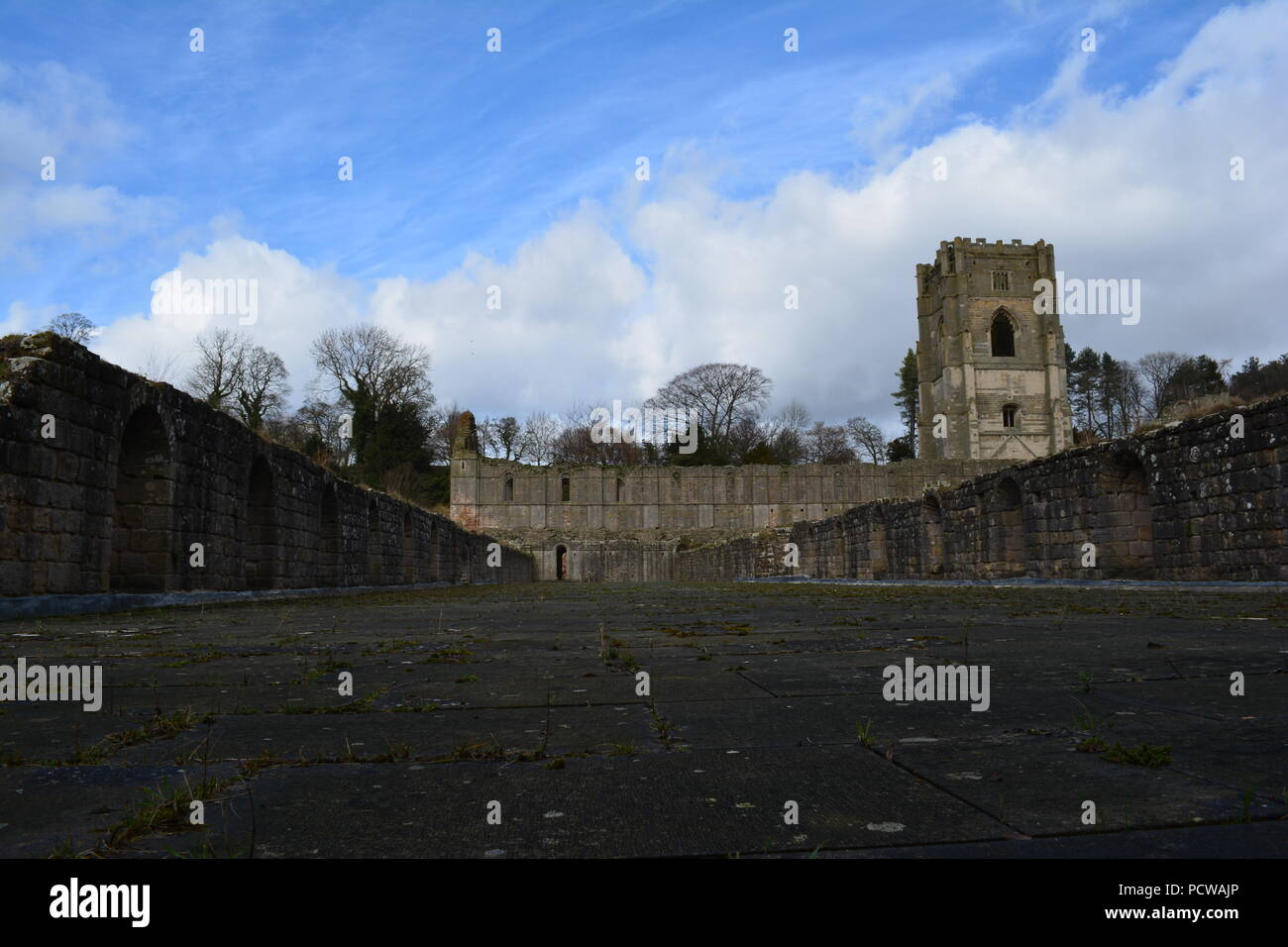 A visit to Fountains Abbey - Stock Image