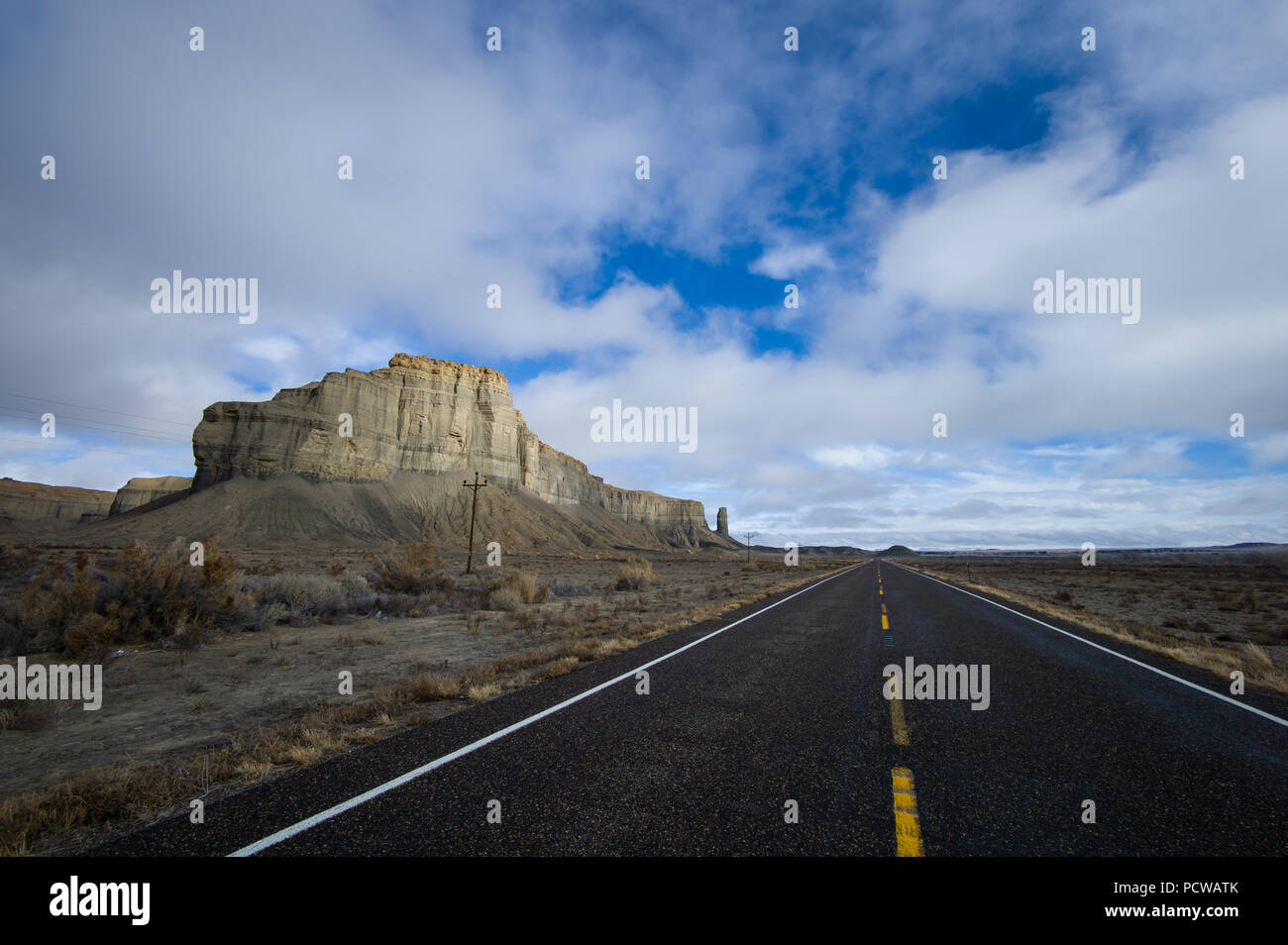 Southern Utah is sparsely populated and the rangelands along the highway provide for stunning scenery. - Stock Image