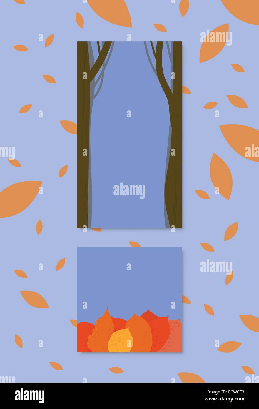 Set Of Backgrounds With Autumn Trees And Leaves Elements For Social