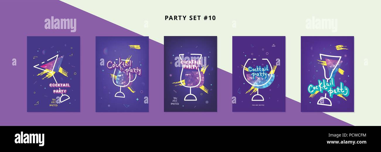 set of cocktail party templates holiday banners with glasses shine