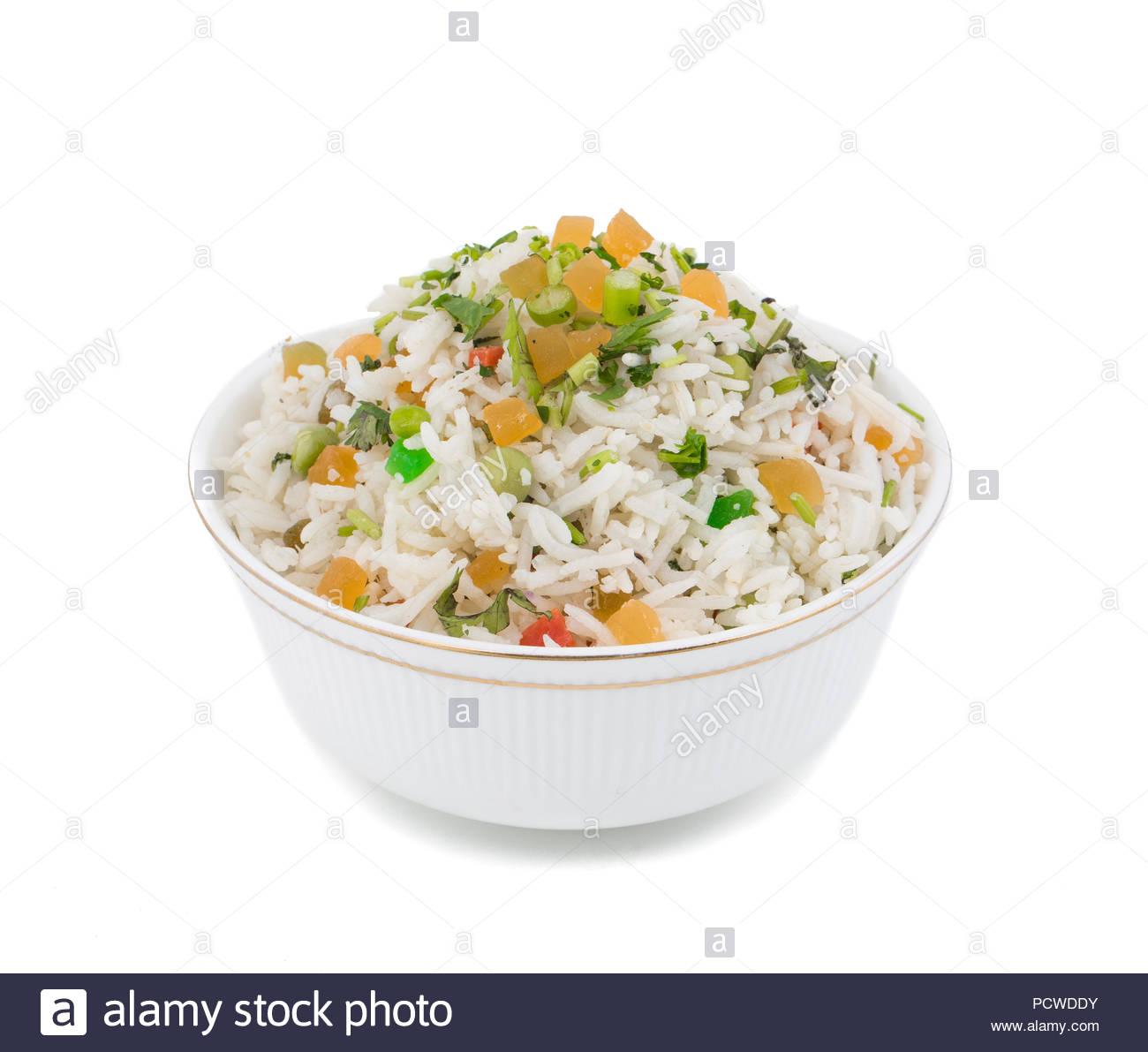 fresh and healthy Veg biryani or kashmiri pulav served in bowl - Stock Image