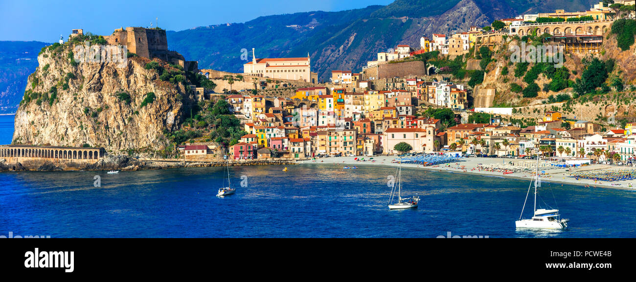 Beautiful Scilla village,view with castle,house and sea,Calabria,Italy. - Stock Image