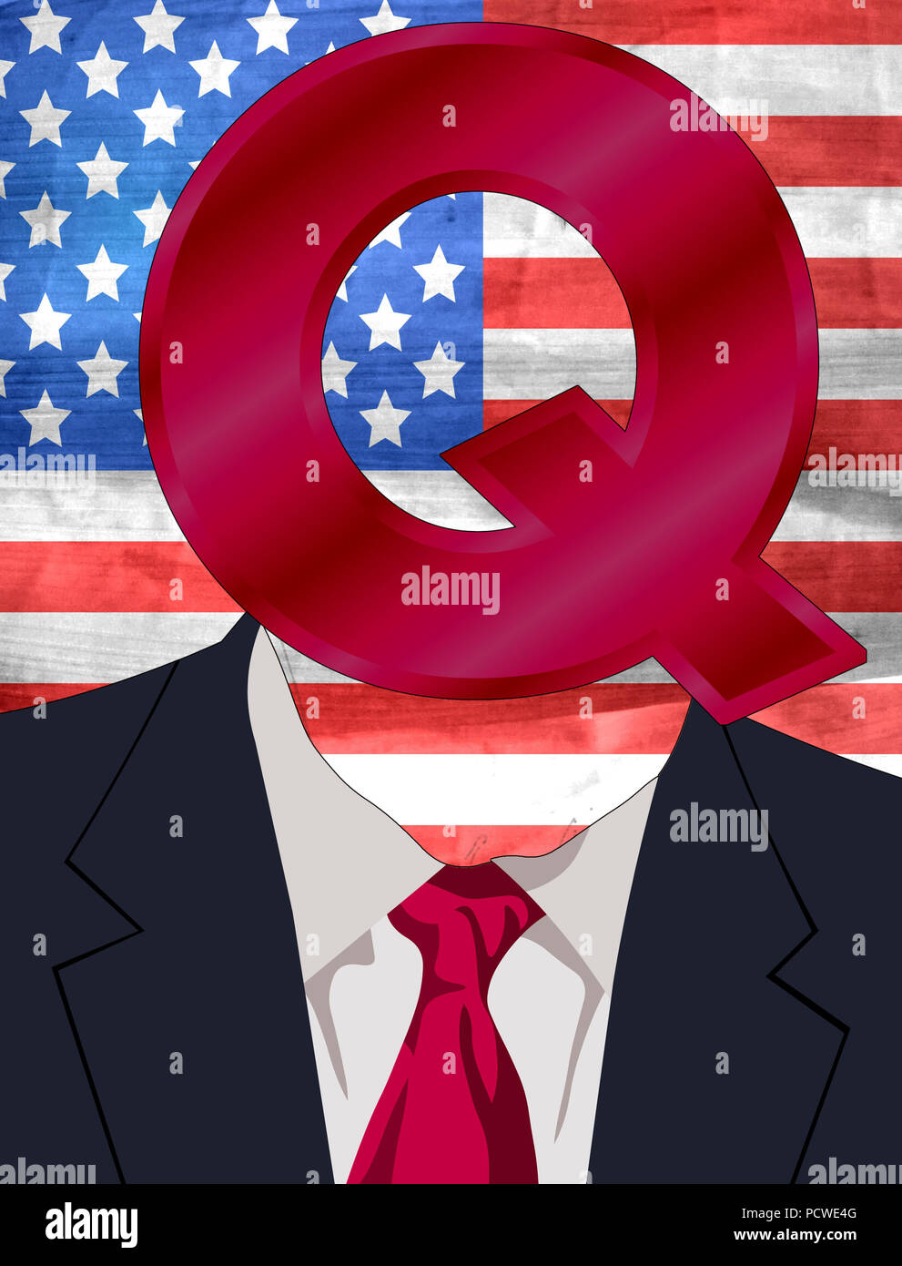 Donald John Trump Q Anon Head - Stock Image