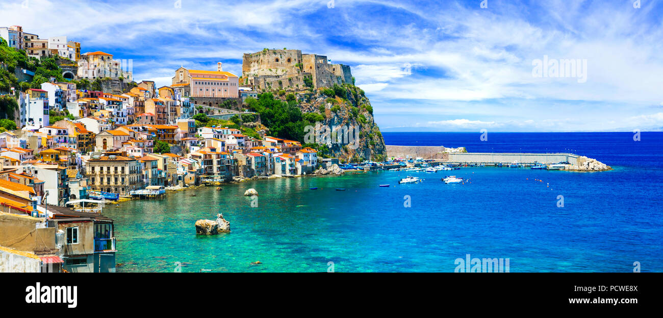 Impressive cScilla village,view with azure sea and Ruffo Casle,Calabria,Italy. - Stock Image