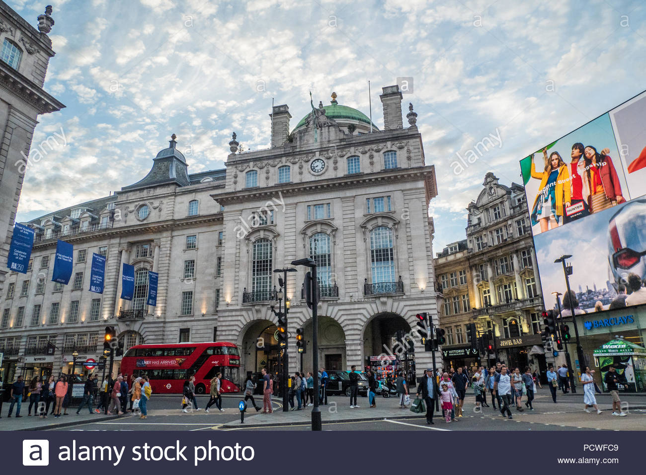 Piccadilly Circus, famous for its Stock Photo