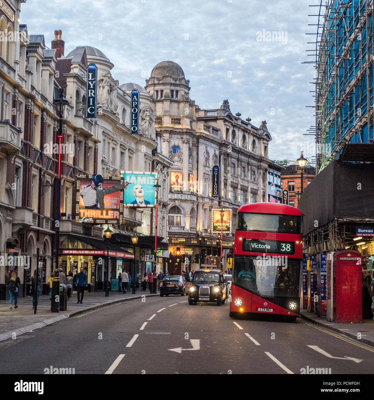 Shaftesbury Avenue in London, Famous for its theatres, England - Stock Image
