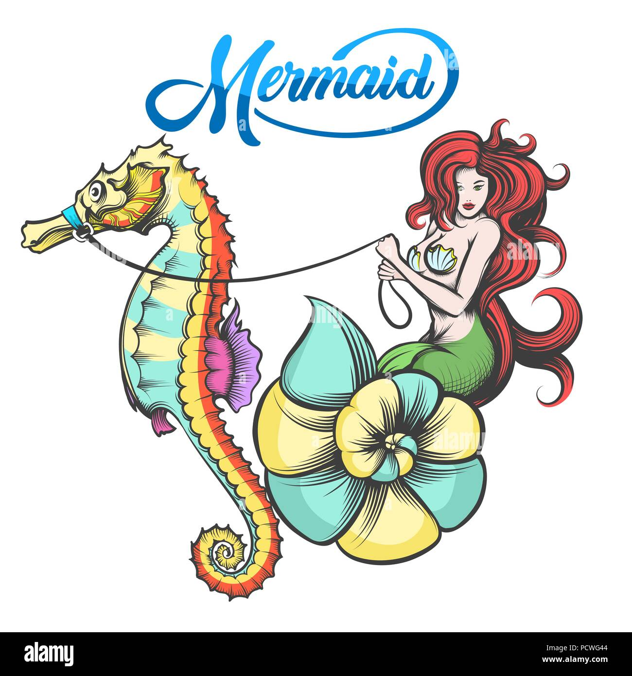 Redhair Mermaid In The Shell Controls The Sea Horse Vector Illustration Stock Vector Image Art Alamy