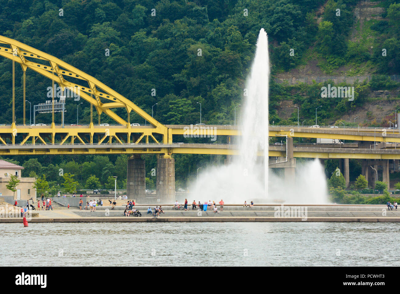 The fountain at Point State Park, Pittsburgh, Pennsylvania, sits at the confluence of the Allegheny, the Monongahela, and the Ohio Rivers. Stock Photo