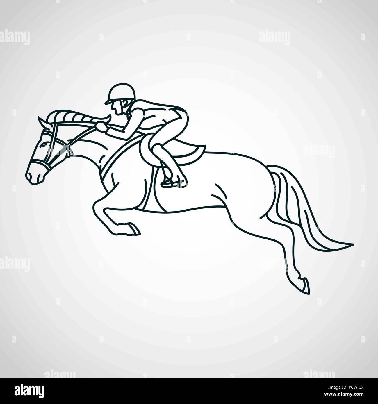 Horse Race Equestrian Sport Vector Logo Icon Illustration