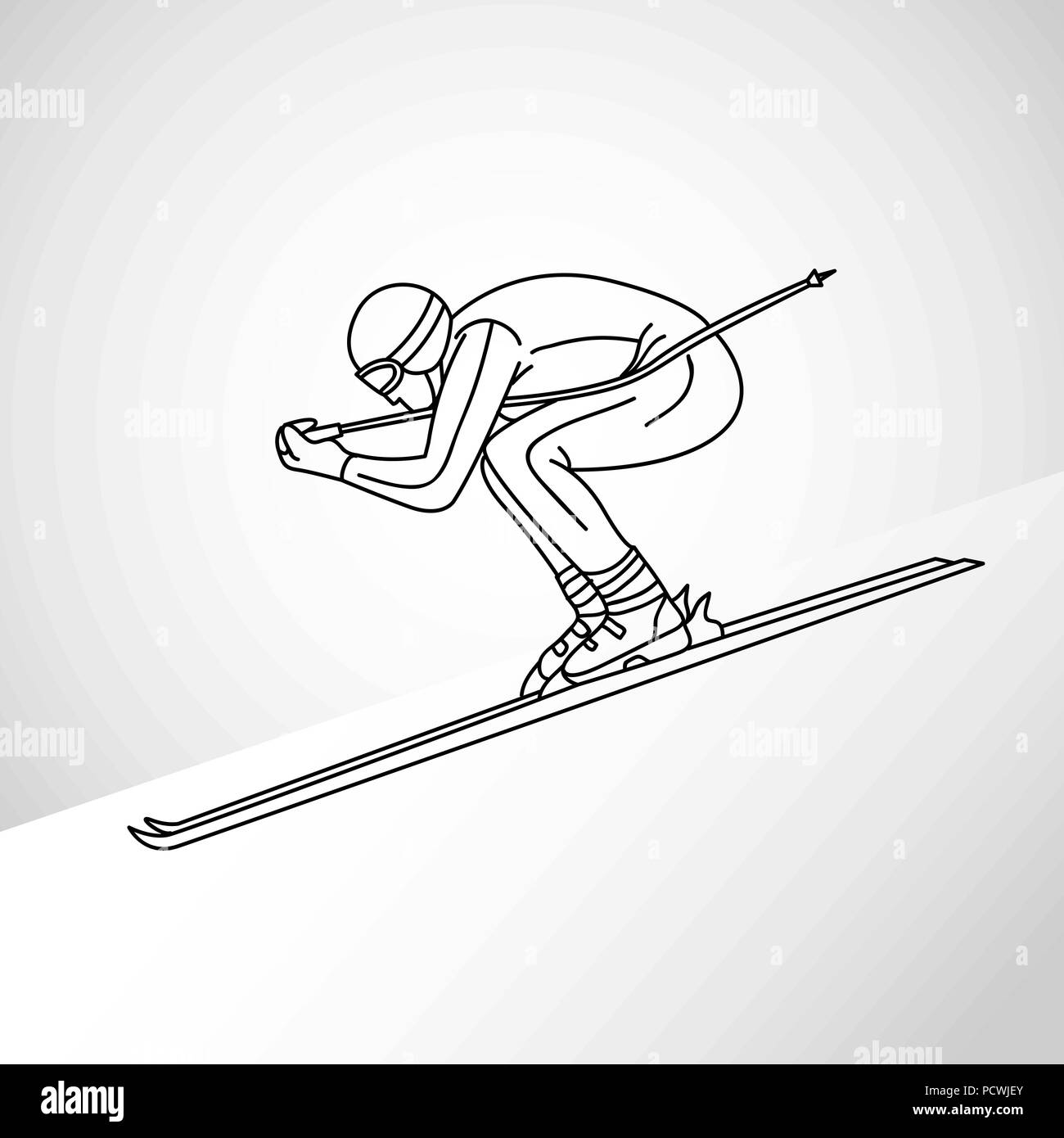 skiing vector logo icon illustration - Stock Image