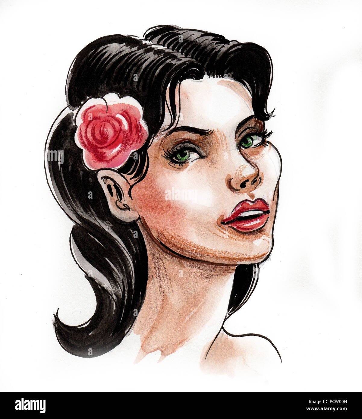 Pretty Woman With A Red Rose In Her Hair Ink And Watercolor