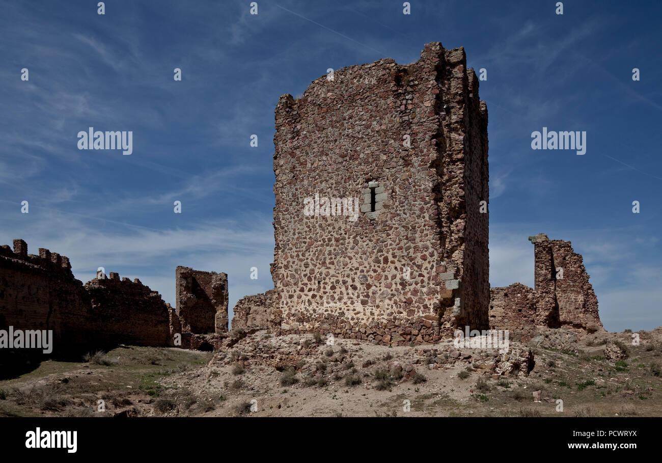 Castillo de Penas Negras Hofansicht mit Bergfried Torre del Homenaje Stock Photo