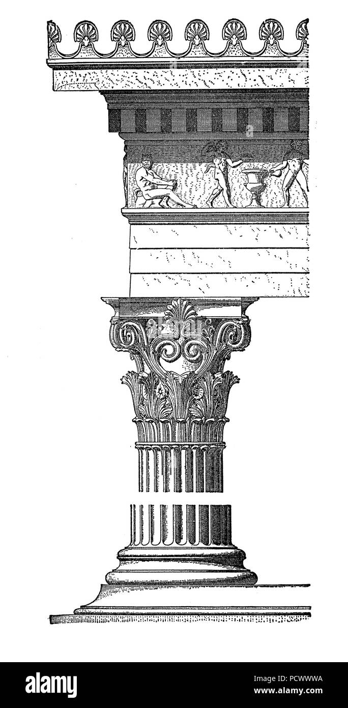 Corinthian order capital with acanthus leaves and scrolls, monument of Lysicrates at Athen.Corinthian was the most ornate order of Greek and Roman architecture, vintage engraving Stock Photo