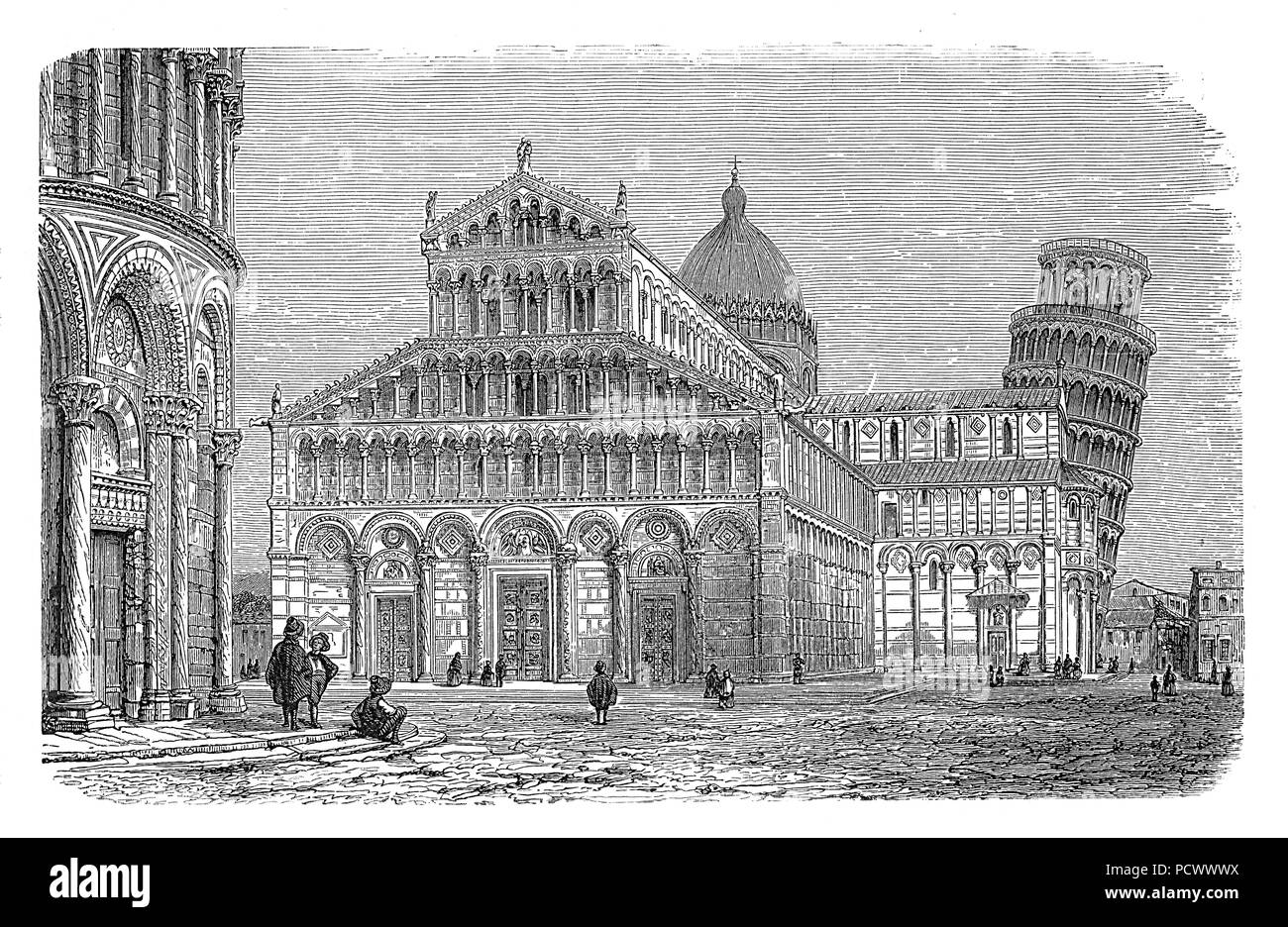 Vintage engraving of Pisa cathedral with the leaning tower in the Piazza dei Miracoli in Pisa, Italy. built in XI century in Pisan Romanesque architecture with byzantine and Islamic influences. - Stock Image