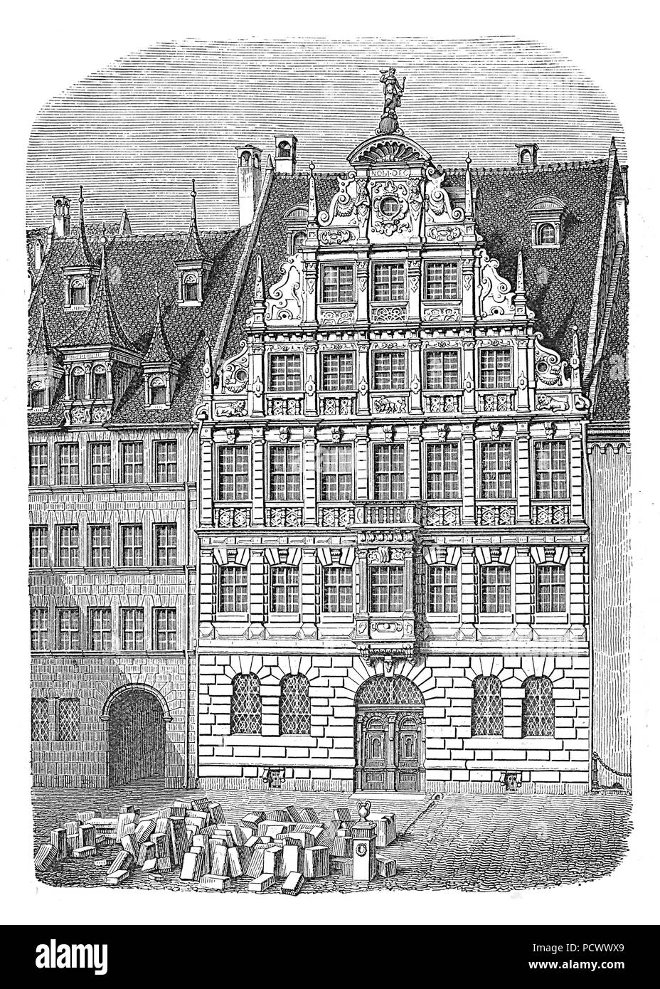Peller House in Nuremberg, built in 1602-07 in Renaissance style, vintage engraving. Damaged in World War II, rebuilt with a modern facade. Stock Photo