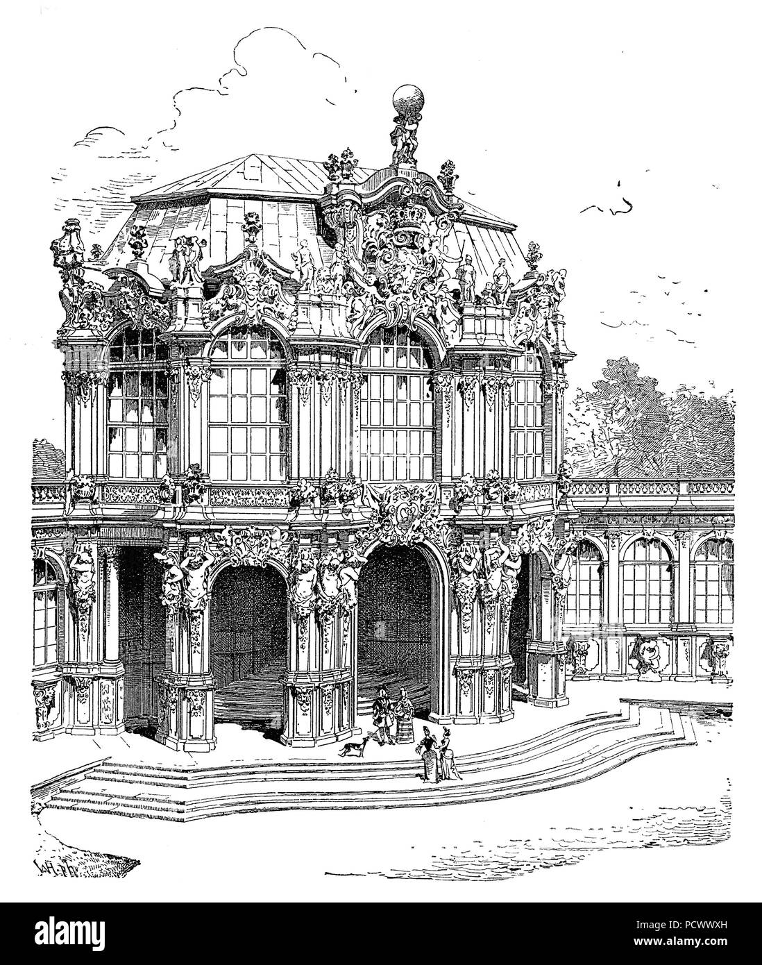 West pavilion of the Zwinger, a palace in the eastern German city of Dresden  built in Baroque style and designed by court architect Matthaeus Daniel Poeppelmann, vintage engraving Stock Photo