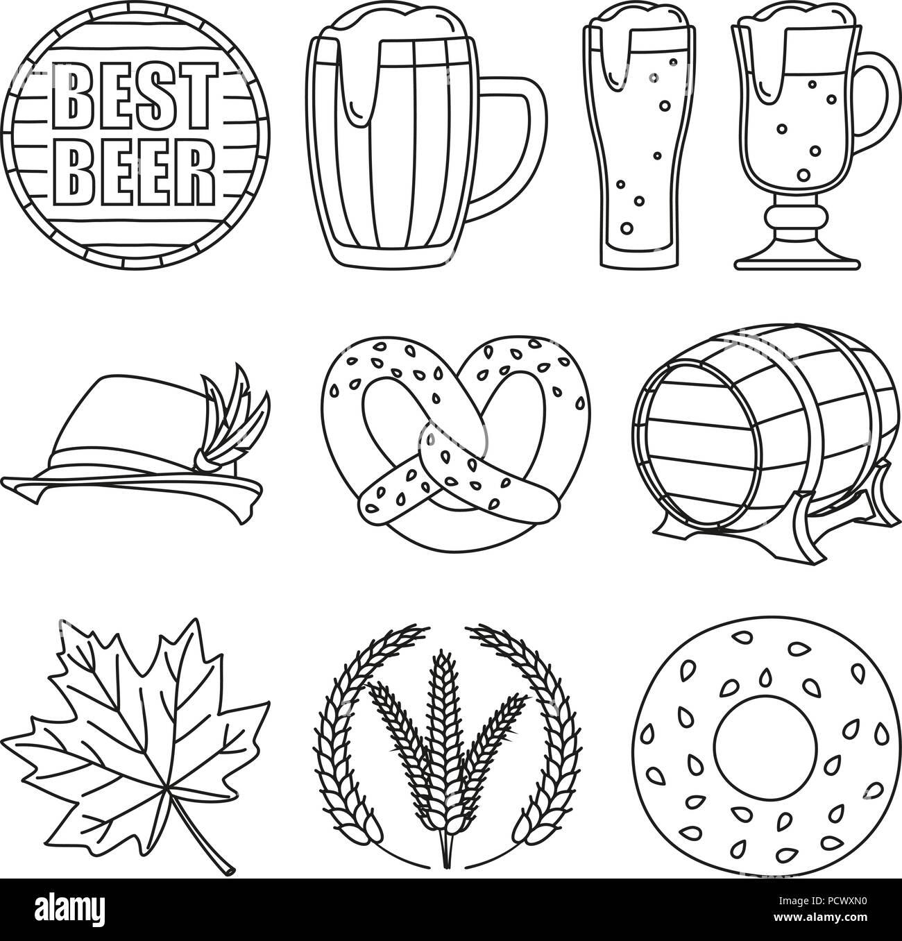 Line art black and white 10 oktoberfest elements - Stock Vector