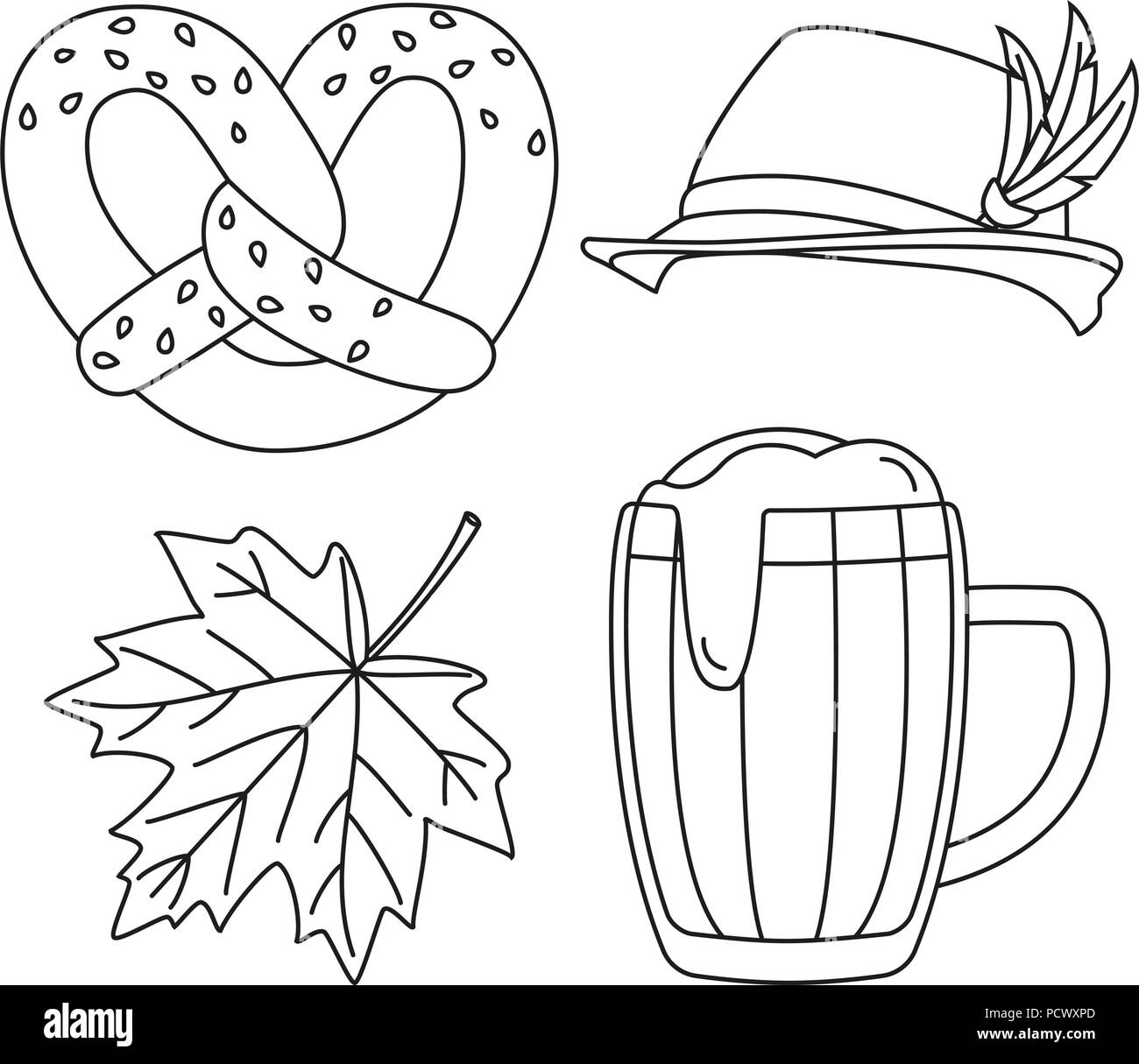 Line art black and white oktoberfest elements set - Stock Vector