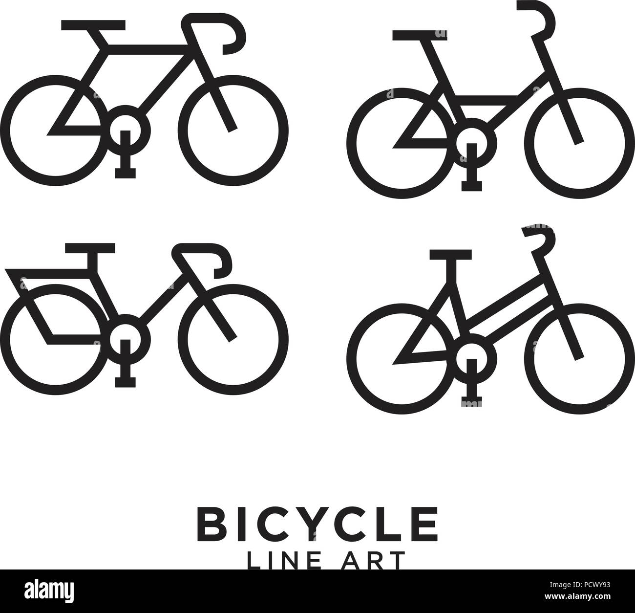 Bicycle line art logo design template royalty free vector.