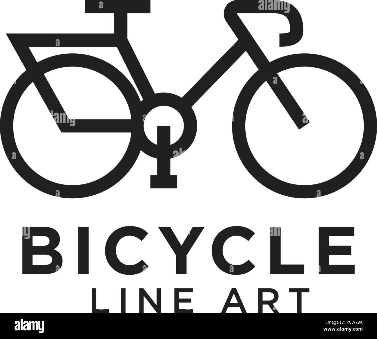 illustration of bicycle line art logo design template stock vector