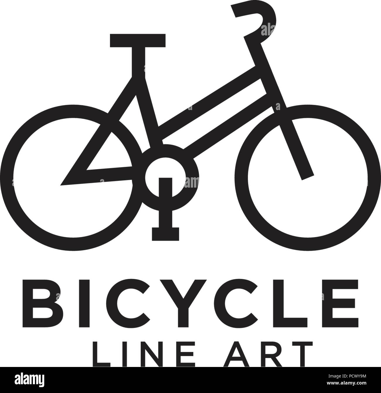 Line art of bicycle logo design template vector image.