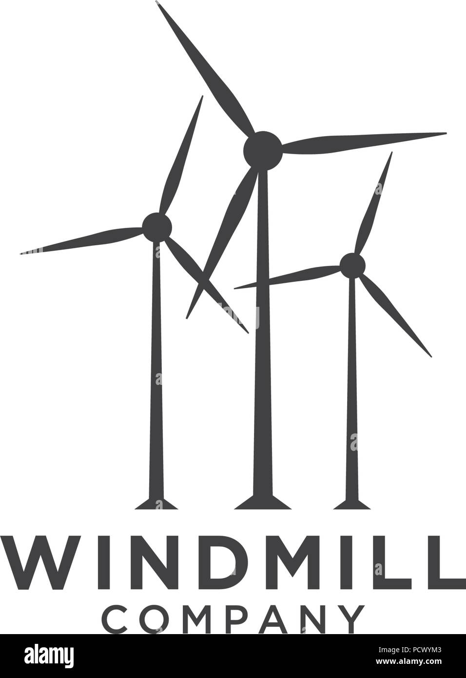 illustration of windmill logo design template vector stock vector