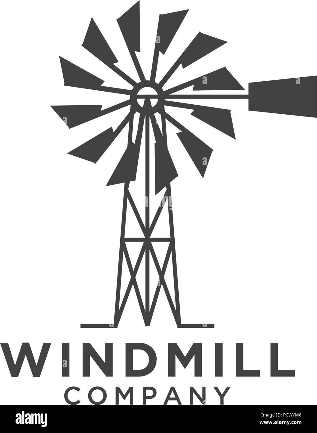illustration of windmill logo design template vector stock vector