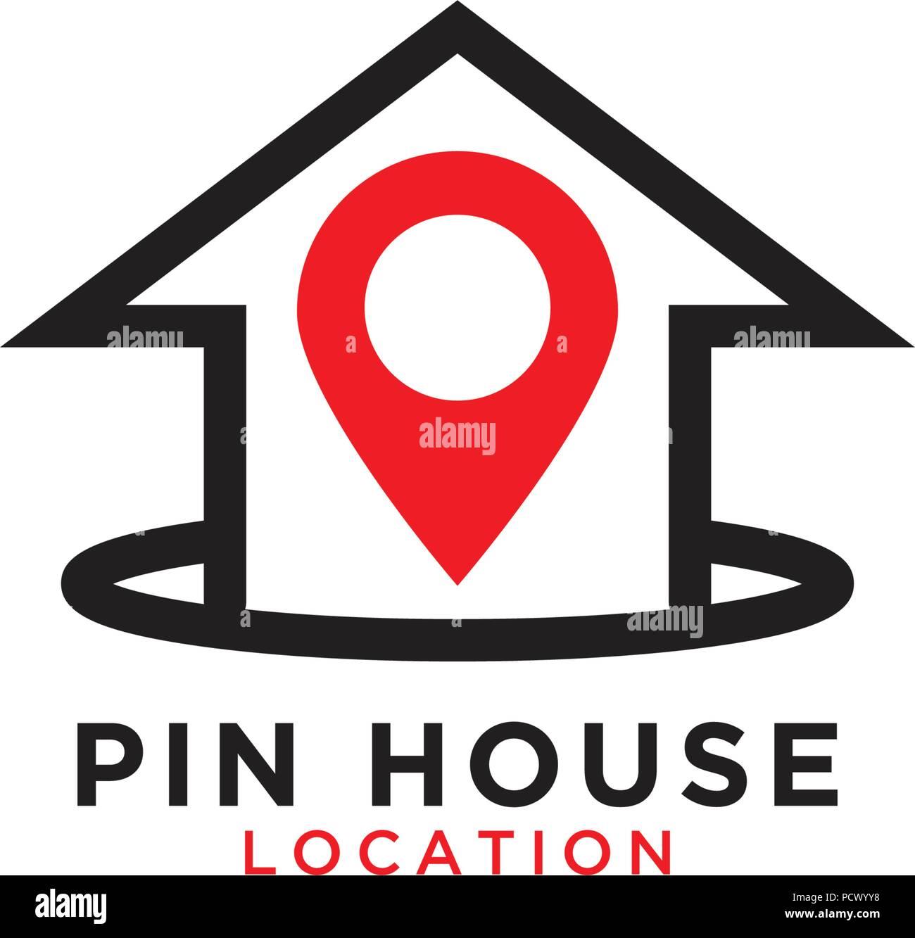 illustration of pin house logo design template stock vector art