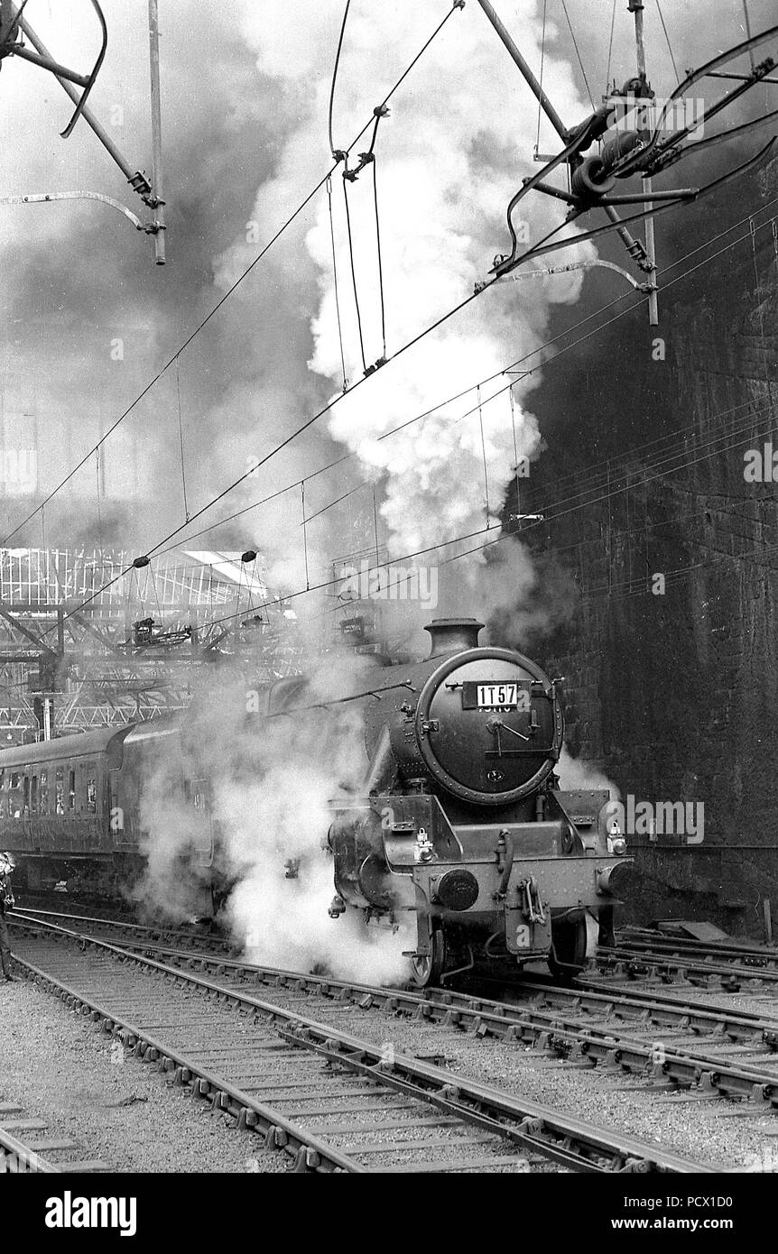 Stanier 5MT Class No 45110  departs Liverpool Lime Street with the final BR steam train 'The Fifteen Guinea special' heading for Manchester  11/08/1968 - Stock Image