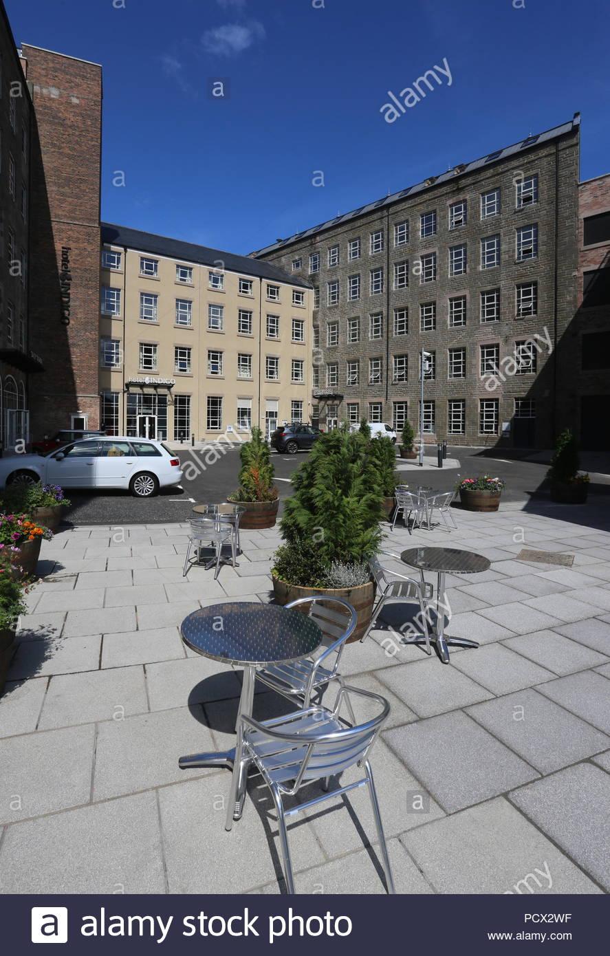 Courtyard at Hotel Indigo Dundee Scotland  July 2018 - Stock Image