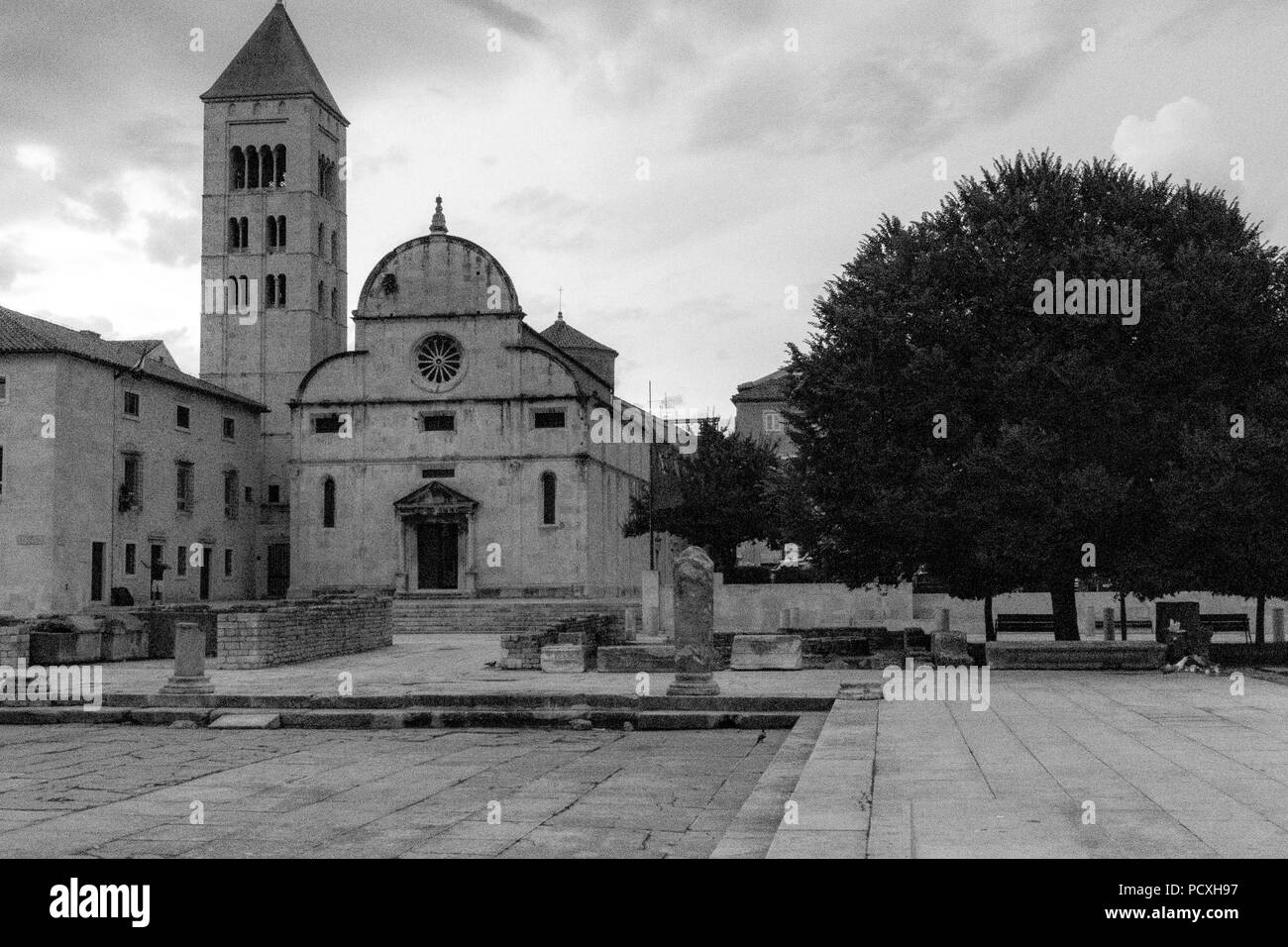 Zadar, Croatia - July 23, 2018: Benedictine monastery of Saint Mary in Zadar old town - Stock Image