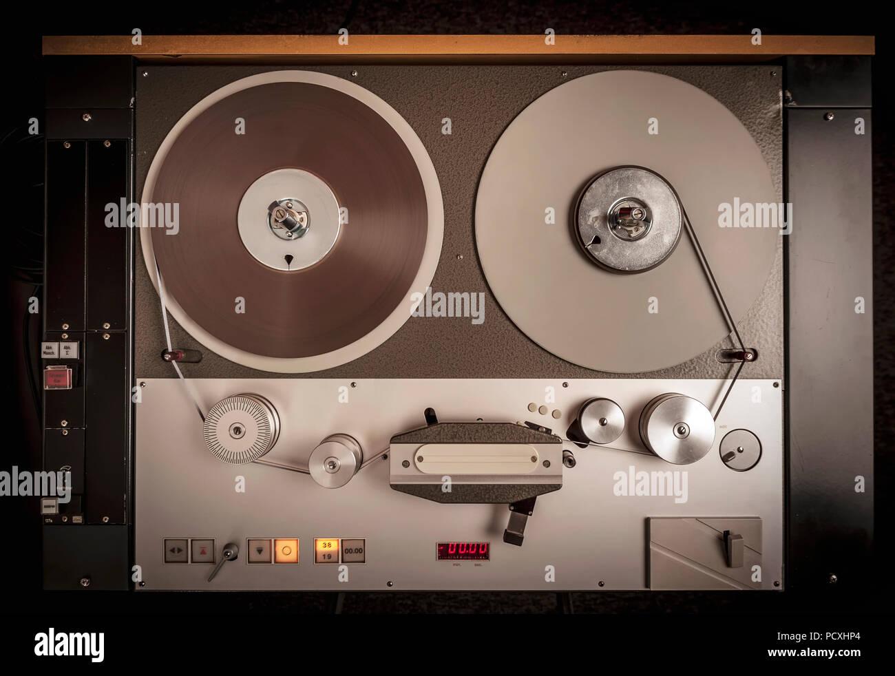 Professional audio tape recorder. - Stock Image