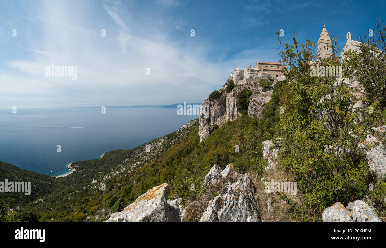 Panoramic view of Lubenice, ancient fort city on the island of Cres, Croatia. Stock Photo